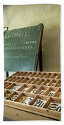 An Old Classroom With Blackboard And Boards With Old Script Beach Towel