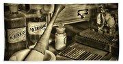 Apothecary-vintage Pill Roller Sepia Beach Towel