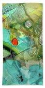 Aqua And Yellow Abstract Art - Juxtaposition - Sharon Cummings Beach Sheet