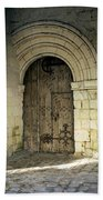arched door at Fontevraud church Beach Towel