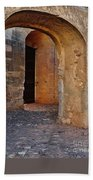 Arches Of A Medieval Castle Entrance In Algarve Beach Towel