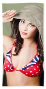 Army Pinup Saluting Retro Fashion In 1940 Style Beach Towel