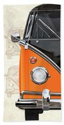 Volkswagen Type 2 - Black And Orange Volkswagen T1 Samba Bus Over Vintage Sketch  Beach Towel