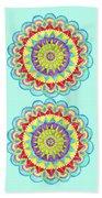 Mandala Of Many Colors On Turquoise Beach Towel