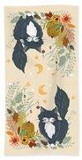 Autumn Garden Moonlit Kitty Cat Beach Towel
