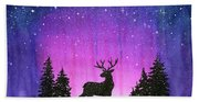 Winter Forest Galaxy Reindeer Beach Towel