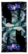 The Cat With Aquamarine Eyes And Celestial Crystals Beach Towel