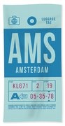 Retro Airline Luggage Tag 2.0 - Ams Amsterdam Netherlands Beach Towel