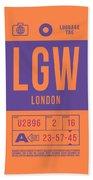 Retro Airline Luggage Tag 2.0 - Lgw London Gatwick Airport United Kingdom Beach Towel