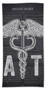 Athletic Trainer Gift Idea With Caduceus Illustration 02 Beach Towel