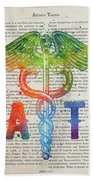 Athletic Trainer Gift Idea With Caduceus Illustration 03 Beach Sheet