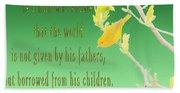 Audubon Warbler Quote Beach Sheet