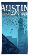 Austin Congress Bridge Bats In Blue Silhouette Beach Towel