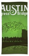 Austin Congress Bridge Bats In Green Silhouette Beach Towel