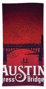 Austin Congress Bridge Bats In Red Silhouette Beach Towel