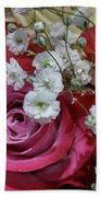 Baby's Breath And Roses Beach Towel