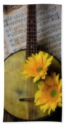 Banjo And Two Sunflowers Beach Towel