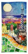 Barcelona By Moonlight Watercolor Painting By Mona Edulesco Beach Sheet