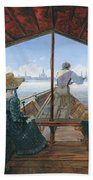 Barge Trip On The Elbe Near Dresden, Morning On The Elbe, 1827 Beach Towel