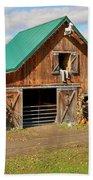 Barn In Autumn Beach Sheet