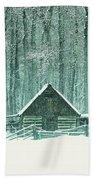 Barn In Snowfall Beach Towel