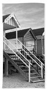 Beach Huts Sunset In Black And White Beach Towel