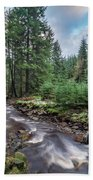 Beautiful Ethereal Style Landscape Image Of Small Brook Flwoing  Beach Towel