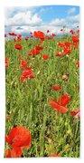 Beautiful Fields Of Red Poppies Beach Towel