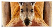 Big Boy Red Kangaroo   Beach Towel