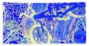 Biking Blue Beach Towel
