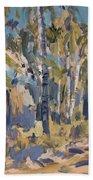 Birch Trees Along The Pond De Melle Beach Sheet