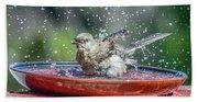 Bird In A Bath Beach Sheet