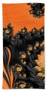 Black And Orange  Swirls Beach Towel