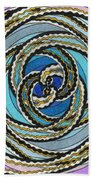 Black And White Fractal Design, Multicolored Background Beach Towel