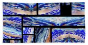 Blue Agate Mosaic Watercolor Collage Beach Towel