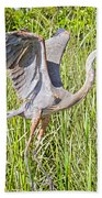 Blue Heron On The Rise Beach Towel