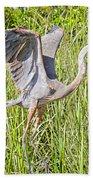 Blue Heron On The Rise Beach Sheet
