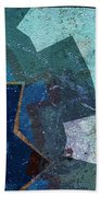 Blue Toned Textured Points Abstract Beach Towel by Dee Flouton