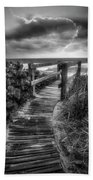 Boardwalk To The Sea In Radiant Black And White Beach Towel