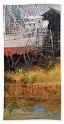 Boat In Drydock Beach Sheet