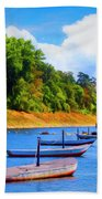 Boats At The Ferry Crossing Painting Beach Towel