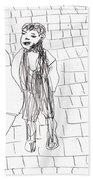 Boy On The Street Pencil Drawing Beach Towel