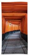 Bright Orange Torii Gates In Kyoto, Japan Beach Towel