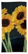 Bright Yellow Sunflowers Beach Sheet