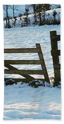 Broken Fence In The Snow At Sunset Beach Towel