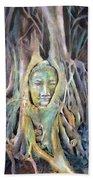 Buddha Head In Tree Roots Beach Towel