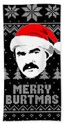 Burt Reynolds Christmas Shirt Beach Towel