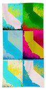 California Pop Art Panels Beach Towel