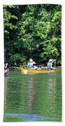 Canoeing On The Rideau Canal In Newboro Channel Ontario Canada Beach Sheet