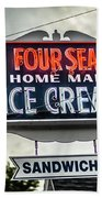Cape Cod Four Seas Home Made Ice Cream Neon Sign Beach Towel